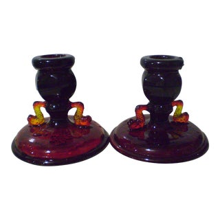 Vintage Fenton Ruby Red Art Glass Candle Holders With Dolphin Handles - Pair