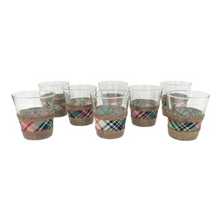 Tartan and Wicker Glasses - Set of 8