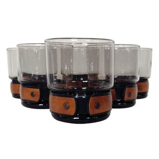 Smoked Glass Tumblers with Vinyl Cuffs - Set of 6