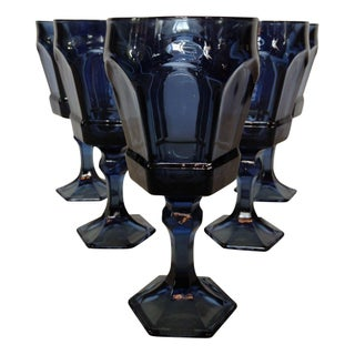 Fostoria Blue Smokey Goblets - Set of 5