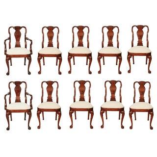 Vintage Georgian Burl Walnut Dining Chairs - Set of 10