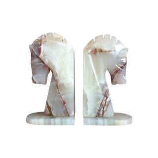 Vintage Marble & Onyx Horse Head Bookends - A Pair