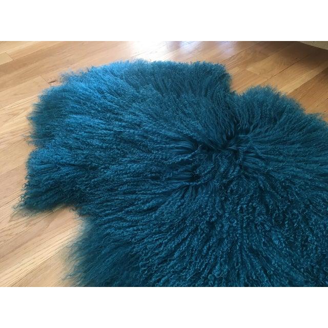 Turquoise Tibetan Lamb Fur Rug - 2′9″ × 4′1″