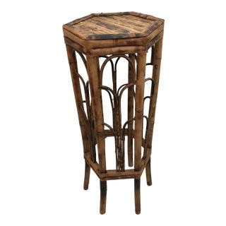 Vintage Bamboo Rattan Plant Stand Table