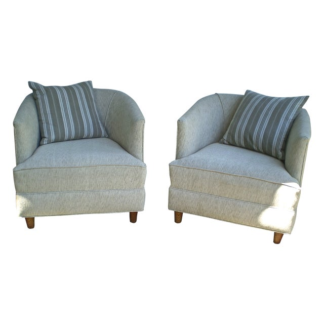 Barrel Club Chairs w/ French Fabric Pillows - Pair - Image 1 of 5