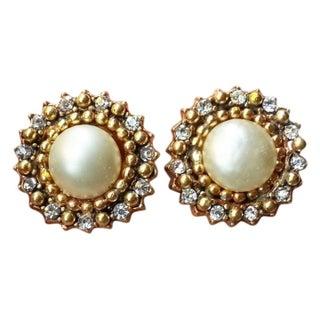 Chanel 1984 Pearl Rhinestone Clip on Earrings