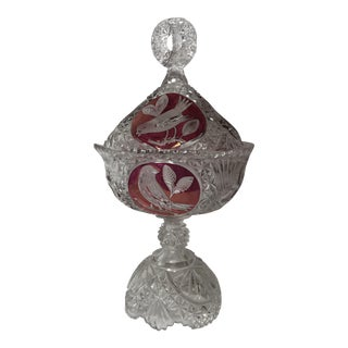 Etched Ruby Cut Glass Lidded Compote