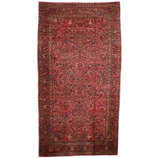 Antique Persian Mashhad Hand Knotted Wool Rug- 10′10″ × 20′4″