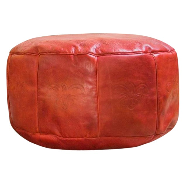 Image of Antique Revival Cranberry Red Leather Pouf Ottoman