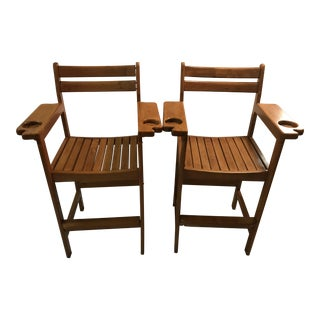 Vintage Maple Spectator Chairs - A Pair