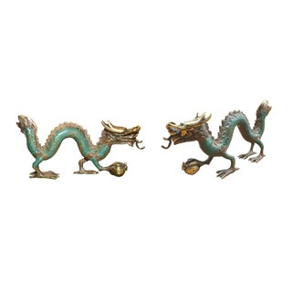 Antique Style Brass Dragon Figurines - a Pair