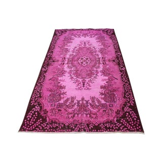 "Pink Over-Dyed Oushak Handwoven Rug - 3'8"" x 6'11"""
