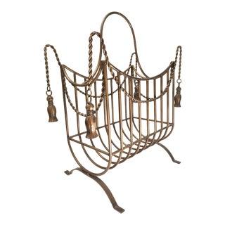 Large Bronze Hollywood Regency Iron Rope and Tassel Magazine Rack