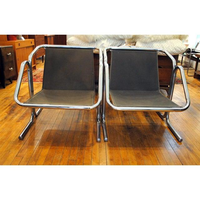 Arcadia Chrome Lounge Chairs A Pair Chairish