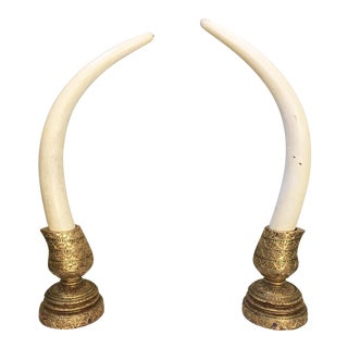 Monumental Decorative Faux Elephant Tusks - A Pair