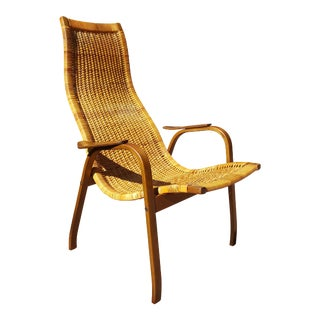 Yngve Ekström Scandinavian Kurva Caned Lounge Chair