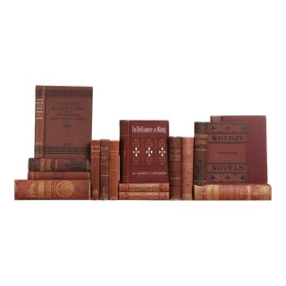 Distressed Antique Book Set in Burgundy & Rust, S/15