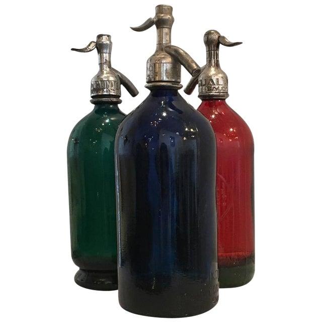 Image of Vintage Argentinian Green, Red and Blue Seltzer Bottles