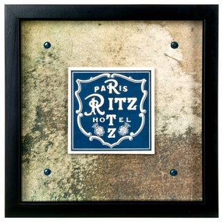 Framed Vintage French Ritz Hotel Luggage Label