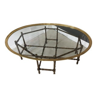 Mastercraft Mid-Century Faux Bamboo & Brass Coffee Table