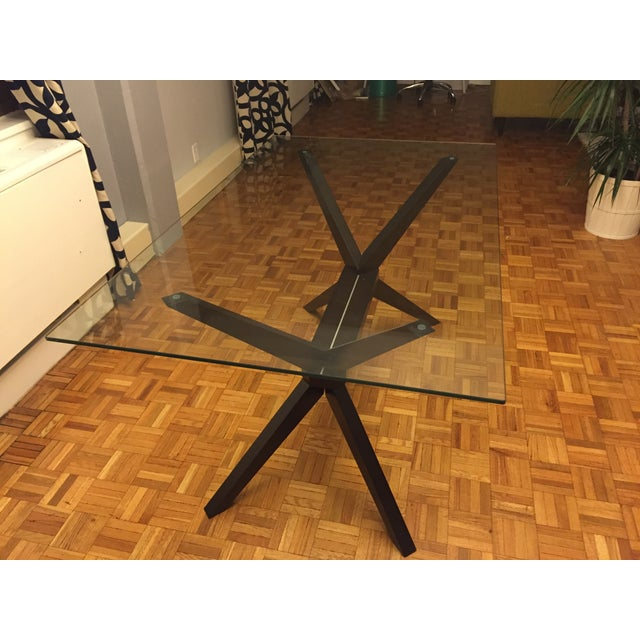 Greenwich Dining Table Glass Top Dark Wood Legs Chairish