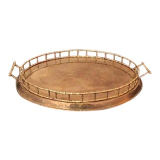 Vintage Brass Faux Bamboo Oval Tray