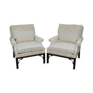 Southwood Pair Chippendale Style Mahogany Lounge Chairs