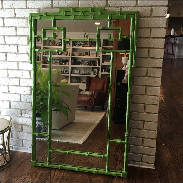 Green Faux Bamboo Mirror - Image 3 of 5