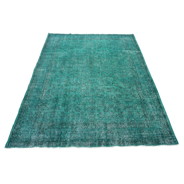 """Vintage Over-Dyed Teal Rug - 7'6"""" x 10'9"""" - Image 1 of 9"""