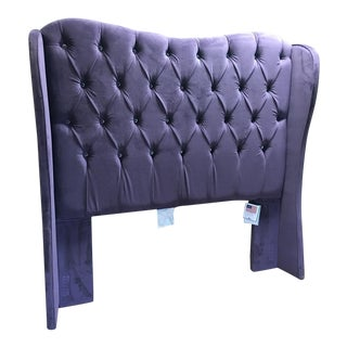 Furniture of America Velvet Purple Tufted Queen Headboard