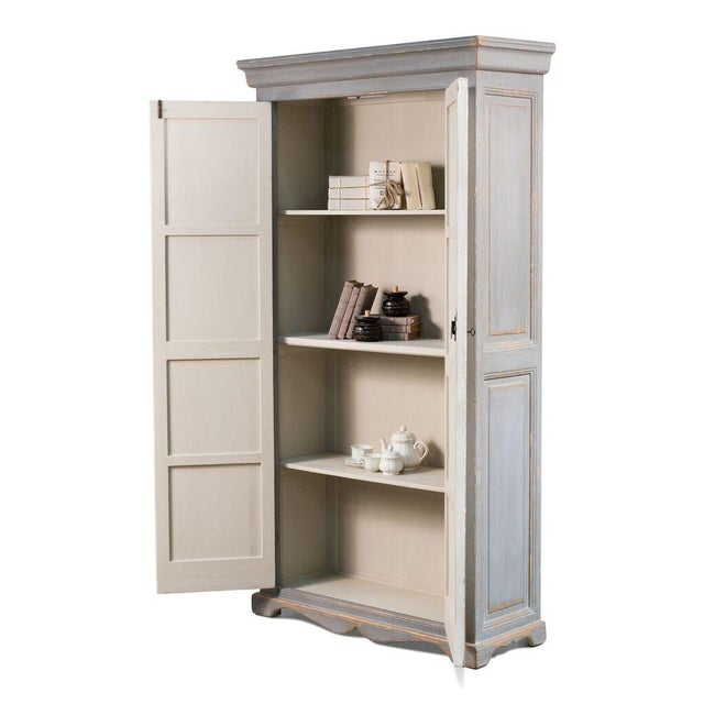 Sarreid Ltd Rustic White & Gray Painted Tall Cabinet - Image 4 of 4