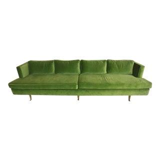 Vintage Davenport Green Velvet Sofa