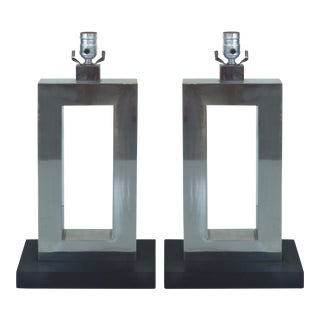 Mid-Century Stainless Steel Table Lamps - A Pair