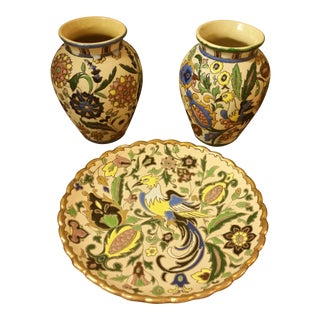 Julio Fuentes Sevilla Spain Vases & Plate Set - Set of 3