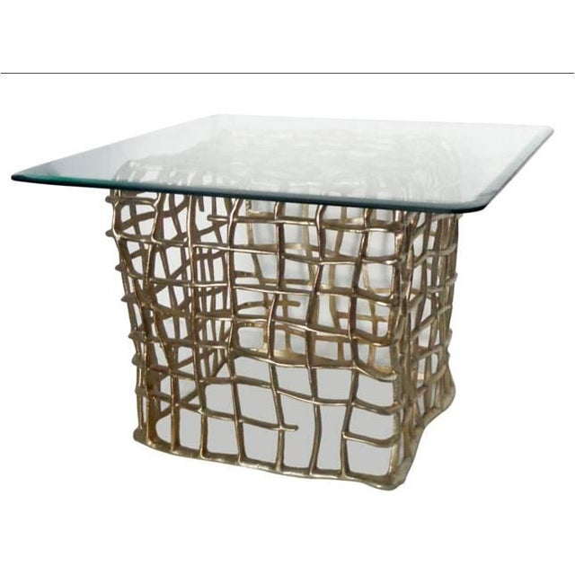 Image of Accents End Table With Square Glass Top