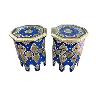 Moroccan Silver Metal Inlaid Side Table in Blue - a Pair