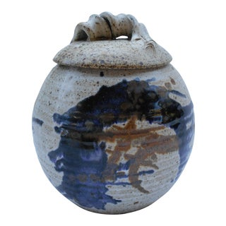 Artisan Painted Pottery Canister