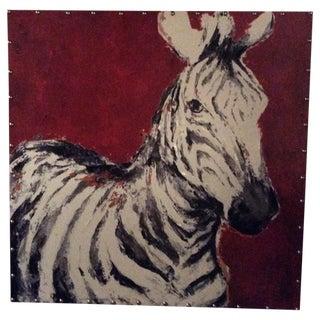 Oversize Zebra Painting on Canvas