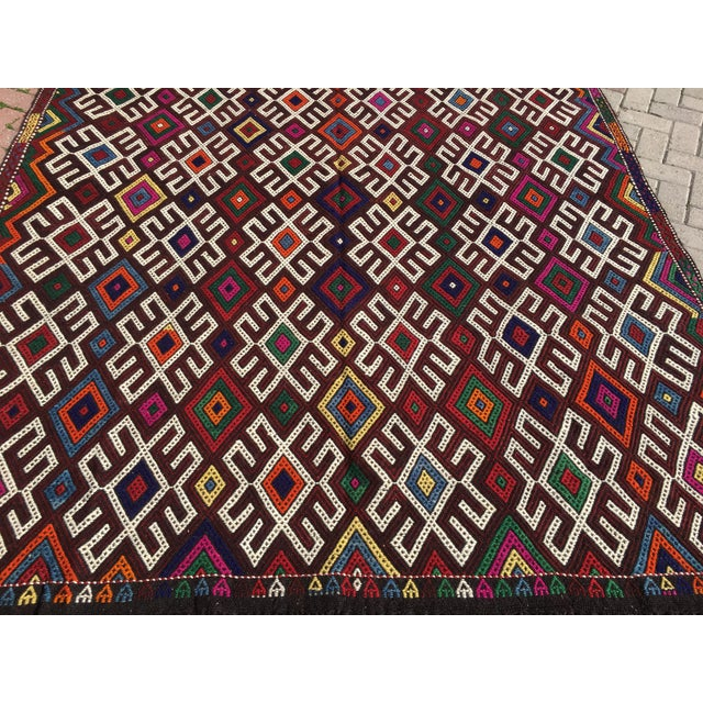 Vintage Turkish Kilim Rug- 7′1″ × 9′10″ - Image 4 of 10