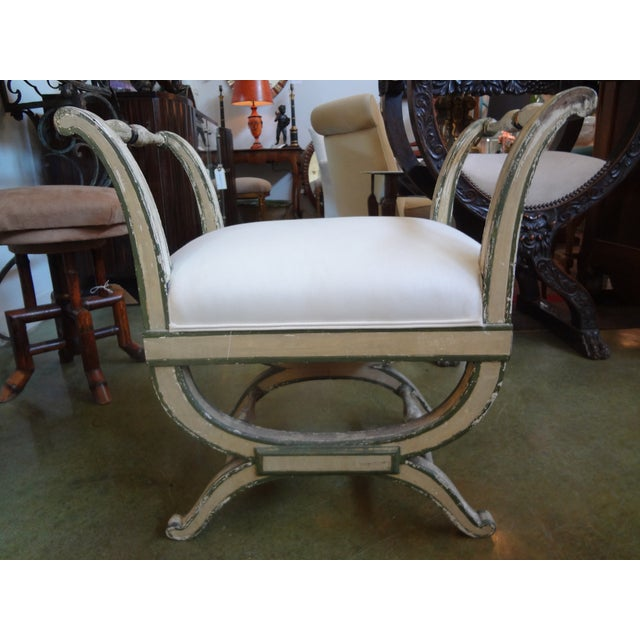 Vintage French Directoire Style Painted Bench - Image 2 of 5
