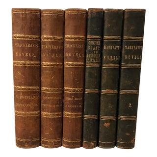 Antique Designer Leather Books - Set of 6