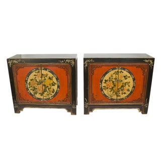 Floral Painted Gansu Cabinets - A Pair