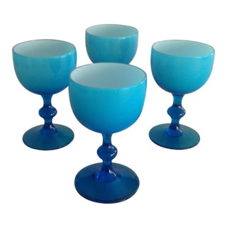 Murano Opaline Milk Glass Cordial Glasses by Carlos Moretti - Set of 4
