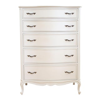 Drexel French Provincial Light Gray Highboy Dresser