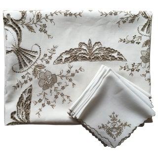 Vintage Italian Linen Tablecloth-12 Napkins