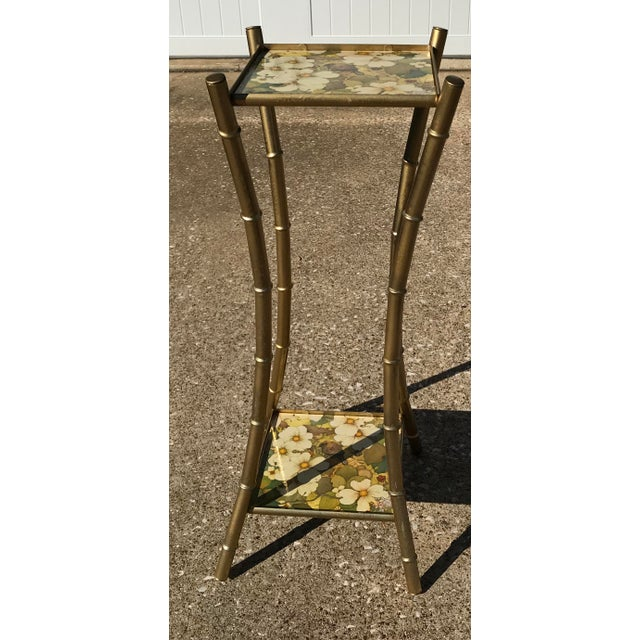 Vintage Faux Bamboo Side Table Plant Stand - Image 3 of 10