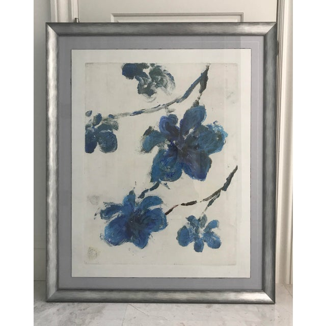 Blue Flowers Monotype in Silver-Tone Frame - Image 2 of 6
