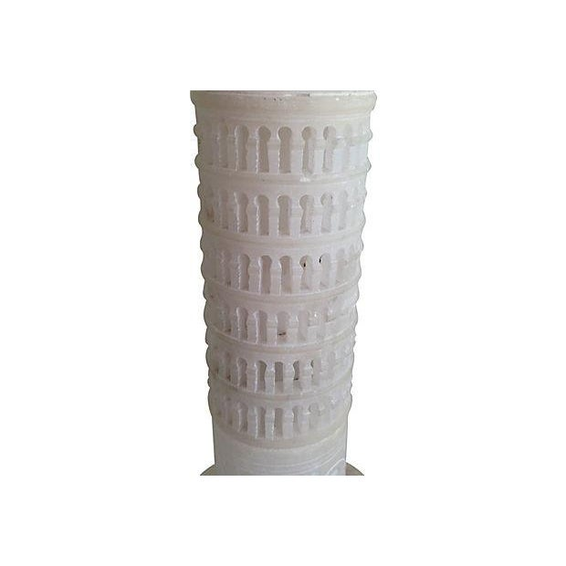 Image of 1950s Italian Alabaster Tower of Pisa Lamp