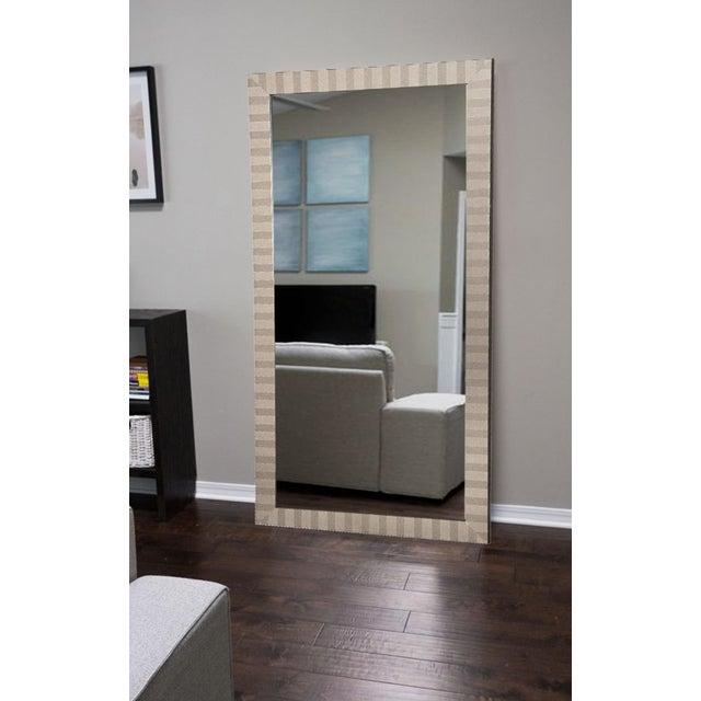 Modern Striped Border Floor Mirror Chairish