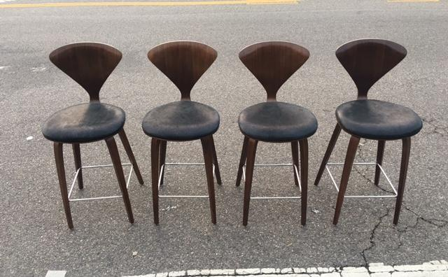 Norman Cherner For Plycraft Counter Stools Set Of 4